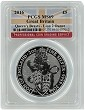 2016 Great Britain 2oz Silver Queens Beast Lion PCGS MS69 - Flag Label