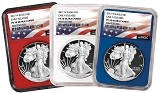 2017 W 1oz Silver Eagle Proof 3 Coin Set NGC PF70 Ultra Cameo - ER - Red White and Blue Core - Flag Label