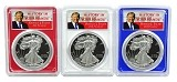 2017 W 1oz Silver Eagle PCGS PR69 - Red White and Blue Frame Set - Donald Trump Label