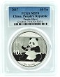 2017 China 10 Yuan Silver Panda PCGS MS70 - Blue Label