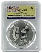 2017 Niue 1oz Silver Mickey Mouse Steamboat Willie Coin PCGS MS69 - Flag Label
