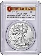 2017 W Burnished Silver Eagle PCGS SP69 - First Day Issue - Special 1 of 1000 Label