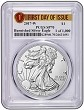 2017 W Burnished Silver Eagle PCGS SP70 - First Day Issue - Special 1 of 1000 Label