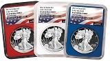 2017 W 1oz Silver Eagle Proof 3 Coin Set NGC PF69 Ultra Cameo - ER - Red White and Blue Core - Flag Label