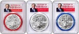 2017 1oz Silver Eagle PCGS MS70 - First Strike - Donald Trump - Red White and Blue Gasket 3 Coin Set