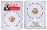 2017 1/10oz $5 Gold Eagle PCGS MS70 - First Strike - Donald Trump Label
