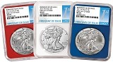 2017 W Burnished Silver Eagle Red White And Blue Core 3 Coin Set NGC MS69 - First Day Issue Label
