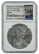2017 W Burnished Silver Eagle NGC MS70 - 225th Anniversary Label - First Day Of Issue