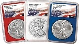 2017 W Burnished Silver Eagle Red White And Blue Core 3 Coin Set NGC MS70 Early Releases - Flag Label
