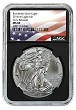 2018 W Burnished Silver Eagle NGC MS69 - Early Releases - Black Core - Flag Label