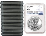 2018 1oz Silver American Eagle NGC MS69 - Early Releases - Blue Label - 10 Pack - Presale