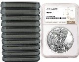 2018 1oz Silver American Eagle NGC MS69 - Brown Label - 10 Pack - Presale