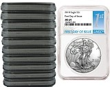 2018 1oz Silver American Eagle NGC MS69 - First Day of Issue Label - 10 Pack - Presale