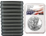 2018 1oz Silver American Eagle NGC MS69 - Early Releases - Flag Label - 10 Pack - Presale