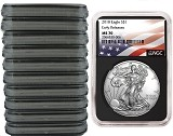 2018 1oz Silver American Eagle NGC MS70 - Early Releases - Flag Label - Black Core - 10 Pack - Presale