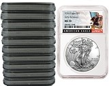 2018 1oz Silver American Eagle NGC MS70 - Early Releases - Black Label - 10 Pack - Presale