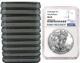2018 1oz Silver American Eagle NGC MS70 - Early Releases - Blue Label - 10 Pack - Presale