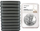 2018 1oz Silver American Eagle NGC MS70 - Brown Label - 10 Pack - Presale