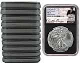 2018 1oz Silver American Eagle NGC MS70 - Early Releases - Liberty Coin Act Label - Black Core - 10 Pack