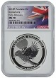 2018 Australia 1oz Silver Kookaburra NGC MS70 - Early Releases - Flag Label
