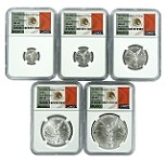 2018 Mexico Silver Onza Libertad 5 Coin Set NGC MS69 - Early Releases - Flag Label