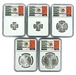 2018 Mexico Silver Onza Libertad 5 Coin Set NGC MS70 - Early Releases - Flag Label