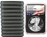 2018 W 1oz Silver Eagle Proof NGC PF69 Ultra Cameo - Early Releases - Black Core - Flag Label - 10 Pack
