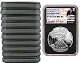 2018 W 1oz Silver Eagle Proof NGC PF70 Ultra Cameo - Early Releases - Liberty Coin Act Label - Black Core - 10 Pack
