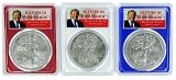 2018 W 1oz Burnsihed Silver Eagle PCGS SP69 - Red White and Blue Frame Set - Donald Trump Label