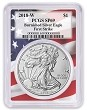 2018 W Burnished Silver Eagle PCGS SP69 - First Strike - Flag Frame - Presale