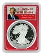 2018 W 1oz Silver Eagle Proof PCGS PR69 DCAM - Red Frame - Donald Trump Label