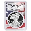 2018 S 1oz Silver Eagle Proof PCGS PR70 DCAM - First Day Issue - Flag Frame