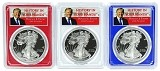 2018  W 1oz Silver Eagle PCGS PR69 - Red White and Blue Frame Set - Donald Trump Label