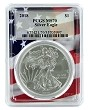 2018 1oz Silver Eagle PCGS MS70 - Flag Frame