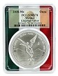 2018 Mexico 1oz Silver Onza Libertad PCGS MS70 - Flag Frame