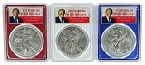 2018 1oz Silver Eagle PCGS MS69 - Donald Trump - Red White and Blue Frame 3 Coin Set