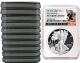 2018 W 1oz Silver Eagle Proof NGC PF70 Ultra Cameo - Early Releases - Black Label - 10 Pack - Presale