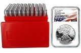 2019 S 1oz Silver Eagle Proof NGC PF70 Ultra Cameo - Early Releases - Flag Label - 10 Pack w/Case