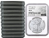 2019 1oz Silver American Eagle NGC MS69 - Early Releases - ALS Label - White Core - 10 Pack - PRESALE