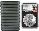 2019 1oz Silver American Eagle NGC MS69 - Early Releases - Black Label - Black Core - 10 Pack - PRESALE
