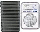 2019 1oz Silver American Eagle NGC MS69 - Early Releases - Blue Label - 10 Pack - PRESALE