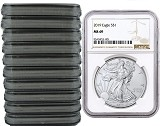 2019 1oz Silver American Eagle NGC MS69 - Brown Label - 10 Pack - PRESALE