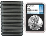 2019 1oz Silver American Eagle NGC MS69 - First Day Issue - Black Core - 10 Pack - PRESALE