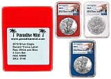 2019 1oz Silver Eagle NGC MS69 - Red White and Blue 3 Coin Set - Donald Trump Label w/Case