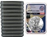 2019 1oz Silver American Eagle NGC MS69 - First Day Issue - West Point Core - 10 Pack - PRESALE