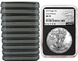2019 1oz Silver American Eagle NGC MS70 - Early Releases - ALS Label - Black Core - 10 Pack - PRESALE
