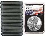 2019 1oz Silver American Eagle NGC MS70 - Early Releases - Flag Label - Black Core - 10 Pack - PRESALE