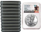 2019 1oz Silver American Eagle NGC MS70 - Early Releases - Black Label - White Core - 10 Pack - PRESALE