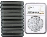 2019 1oz Silver American Eagle NGC MS70 - Brown Label - 10 Pack - PRESALE