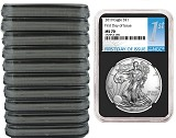 2019 1oz Silver American Eagle NGC MS70 - First Day Issue - Black Core - 10 Pack - PRESALE